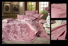 pinkly bedding set jacquard bedding set faux silk cotton/polyester luxury bridal bedsheet