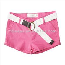 GZY Stock cheap hot sale mini girls jean shorts with belt