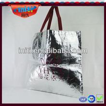 silver laminated non-woven tote bag/ china factory hot sale popular style silver laminated non-woven tote bag