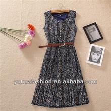 Temperament Floral Pleated Long Dress,abaya turkey
