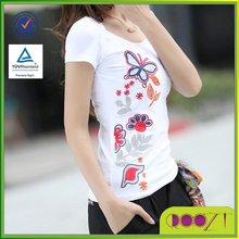 Hot sale clothes women embroid slim fit office lady short sleeve t shirt design