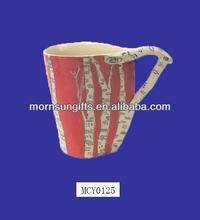 Wholesale Novel shape Leaf Shaped Birch Trees Porcelain Mug