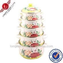 High quality flower turkey insulated non stick enamel casserole cookware