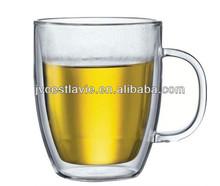 Borosilicate Clear handmade double wall travel mug