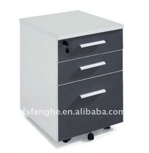 small wooden chrome file cabinet E-030