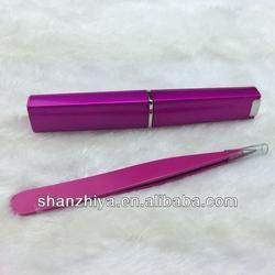 eyebrow tweezer pack in display box/stainless steel/ slanted