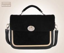 New arrival 2014 womens new style leather handbag with fur leather trim shoulder bag