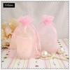 Free Shipping ,100PCS/Lot, Wholesale Pink Organza gift bags