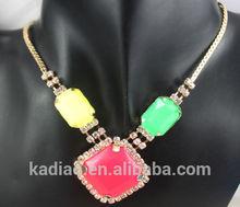 hot 2014 new mix colour resin&rhinestone Pattern Pendant Bib necklace yellow/green/red