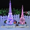 Elaborate Design K9 Crystal Eiffel Tower for Religious Souvenirs,Crystal Eiffel Tower Trophy with Colorful LED Lighting Base