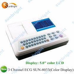 color digital ecg machine 3 channel