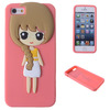Pink 3D Cutest Girl Soft Rubber Silicon Case Cover Skin For Iphone5 5s 5g