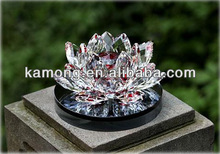 Good quality material K9 Clear Crystal Lotus Flower For Fengshui Gifts,hot sell for 2 014,beautiful lotus flower MUL-39