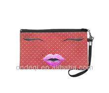 Hipster pink glitter lips white&red polka dots wristlet