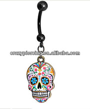 Popular Wholesale Hot Sale Faith And Flowers Sugar Skull Dangle Belly Ring Navel Ring Belly Jewelry