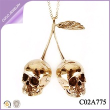 2014 autumn/winter gold plated alloy couple skull necklace