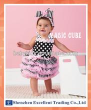 Hot Item White Polka Dots Baby Girls Tutu Dress with Stripes
