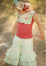 Girls Ruffle Pants Delectable Collection Girls clothes Coral tops outfit for kids