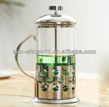 Borosilicate Glass Metal Smart Coffee And Tea Maker With Handle