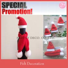 Christmas santa hat for beer bottle decoration