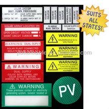 19pcs/Set PV Solar Label kit Electrical Compliance Warning Label Special for Australian Solar Power System Hot seller **L**