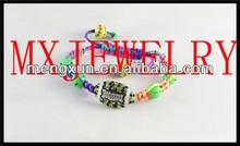 2014 blue fake crystal beaded adjust weave Trendy football crystal Sports Jewelry bracelet