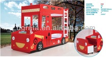 2014 Unique design lovely kids bunk fire engine bed is design for children in E1 MDF board and colorful painting