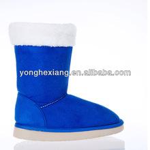 Women Button Faux Suede Fur Winter Snow Shearling Mid Calf Flat Boot Shoe