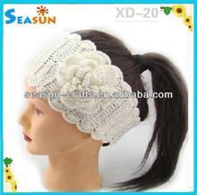 Custom fashion knitted flower elastic line gold leaves headband