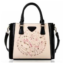 The new trend match color printing handbag portable shoulder Messenger bag fashion female bag tide