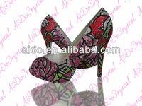 New Tree Peony Pattern Stiletto High Heel Shoes;Women High Heel Shoes; China Women Shoes