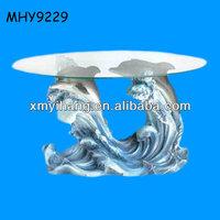 blue sea double dolphin theme luxury coffee tables