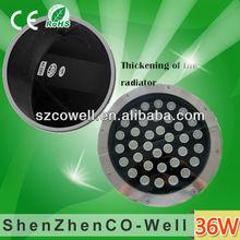 36W high bright round led underground light D300*H90mm,2 Years Warranty,DC12V/24V RGB/R/G/B/Y/W Energy saving and long lifespan