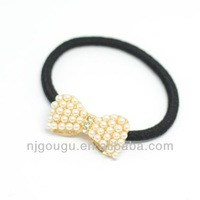 bowknot pearl beaded ponytail holder
