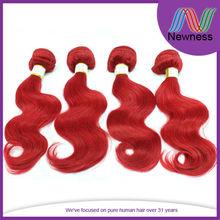 Newness red color virgin european remy hair eastern european