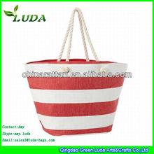 LUDA cross stripe Paper Straw Beach Tote Bag in Two Colors