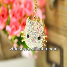 Jewelry Diamond USB flash drive,Kitty Shape Necklace Pendrive,USB memory