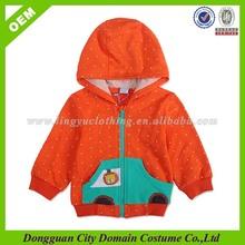 children top full zip hoody, printed children top with dots,spring clothed children top with embroidery (lvt020218)