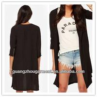 three-quarter sleeves slit sides zipper long jacket women fashion jacket 2014 new OEM bulk wholesale cheap price autunm spring