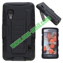 New Arrival Snap-on Rubber Belt Clip Holster Backup Case for LG Optimus L5 II E460