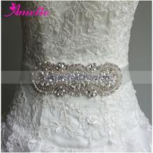 Crystal and Beads Wedding Sash Belt