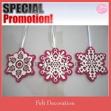 laser cutting felt decoration , snowflake shape felt decoration