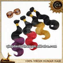 Top unprocessed wholesale double weft brazilian human hair ombre two tone 5A grade 100% virgin brazilian hair