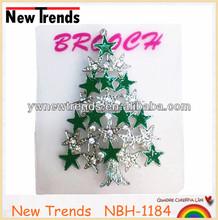 Flashing crystal enamel Christmas tree brooches with stars/ Christmas gift