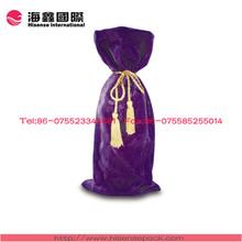 2014 Newest fashionable velvet wine bottle bag for promotion