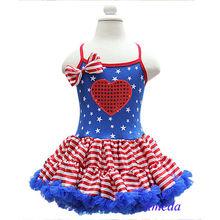 4th July Patriotic Blue Star Red Heart Pettiskirt Tutu Pettidress Party Dress 1-7Y