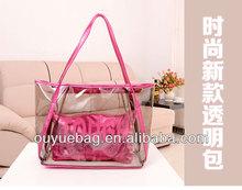 ***2014 Popular clear PVC ladies zipper waterproof beach tote bag***
