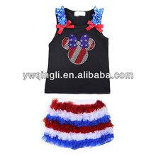 New Design Kids Patriotic Rhinestone Inspired Ruffle Short Set For Girls