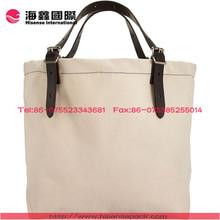Leather handle canvas shopping bag folding reusable shopping bag
