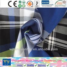 fashion shirt garment yarn dyed 100% cotton carbon peach fabric big check